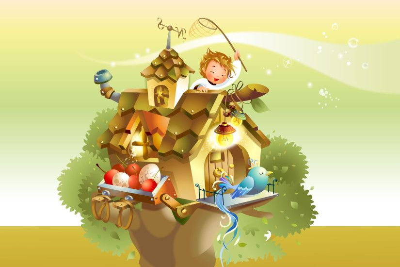 FairyTale Wallpaper, Bird house, Tree house