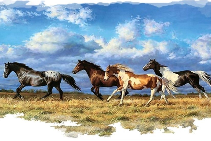 45 Feet <b>Wallpaper Border Wild Horses</b> Running in Purple