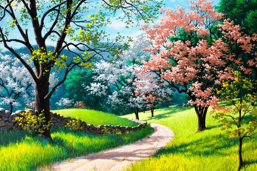 Spring Nature Painting Trees Grass Road Wallpaper