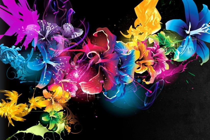 Wallpaper Abstract Flowers Colors Patterns.