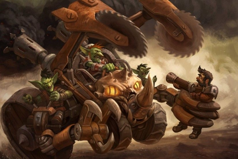 Preview wallpaper hearthstone, goblin vs gnomes, motorcycle, mechanism  1920x1080