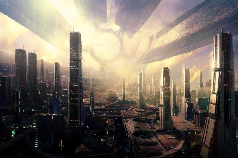 cityscapes futuristic photography mass effect fantasy art citadel mass  effect 2 city skyline 1920 – Abstract Fantasy HD Desktop Wallpaper