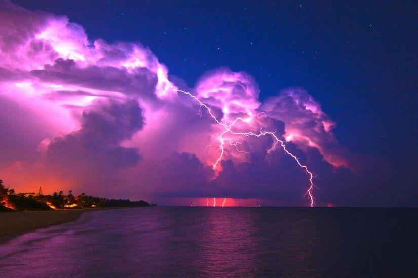 1920x1080 Wallpaper lightning, elements, coast, night, stars, clouds,  clearly,