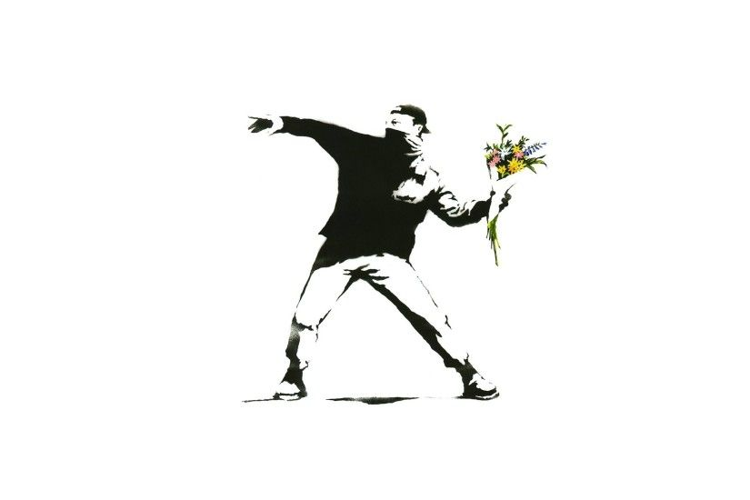 minimalism white background banksy graffiti men flowers selective coloring  protestors wallpaper and background