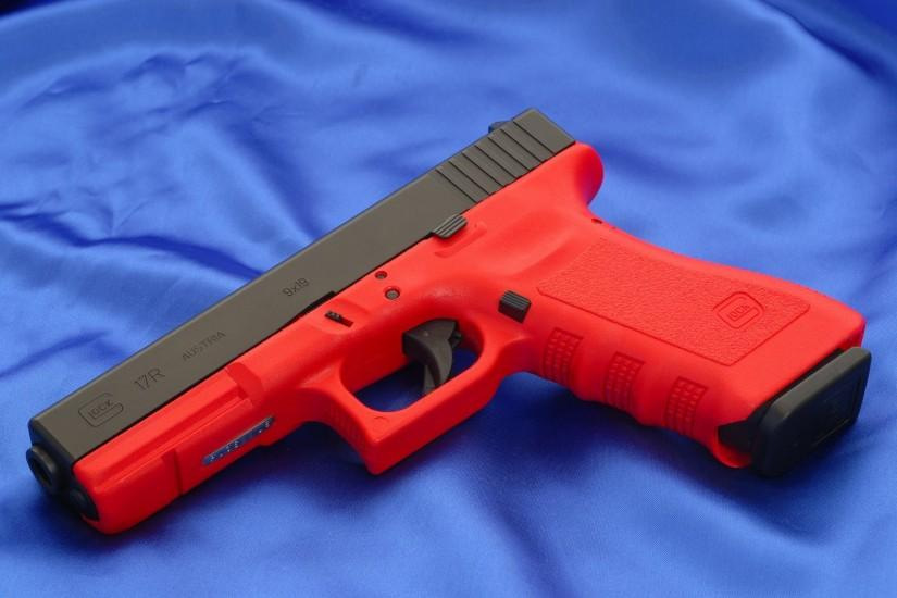 glock 17r gun weapons wallpapers red austria glock 17p gun trunk austria  red background canvas wallpaper