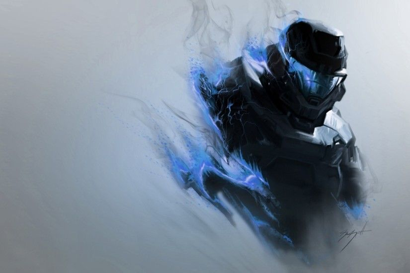 Preview wallpaper halo, smoke, armor, soldier, helmet 2048x1152