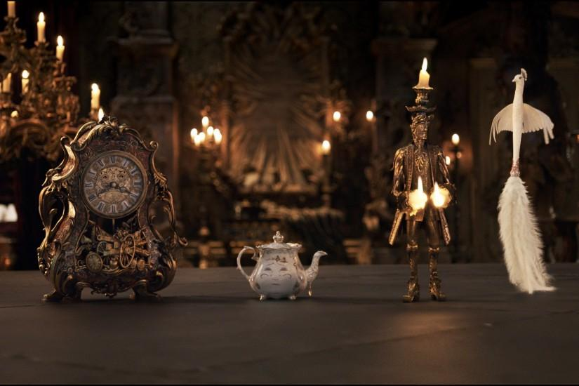 The mantel clock Cogsworth, the teapot Mrs. Potts, Lumiere the candelabra  and the