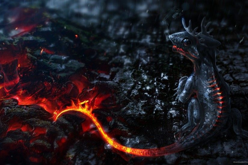 1440x900 3D Lava Dragon Baby wallpaper