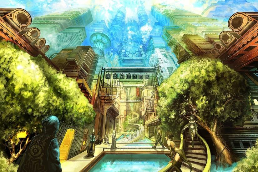 Anime original city cities art artwork fantasy detail wallpaper | 1920x1440  | 687320 | WallpaperUP