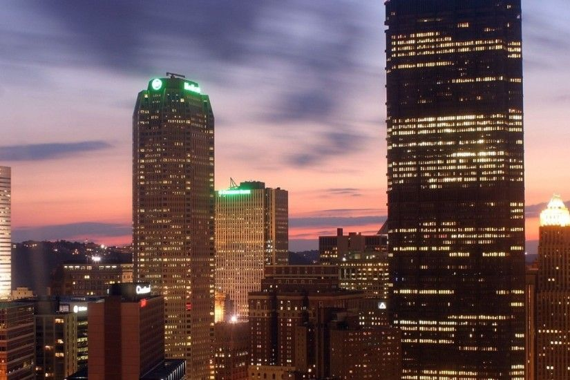 Preview wallpaper pittsburgh, night, panorama, city, city lights, buildings  2560x1080