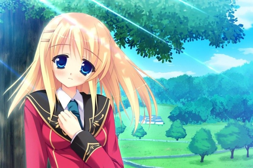 1920x1080 Wallpaper anime, girl, sad, tree, park, spring