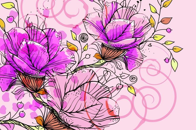Pink Flowers Background Free Wallpaper and Wallpaper Background