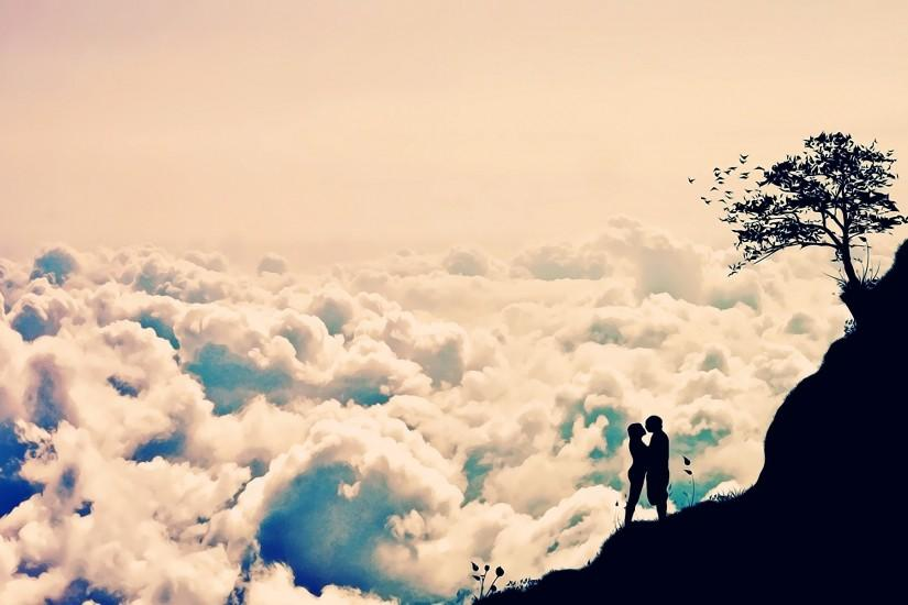 Romantic Love Clouds Couple Background HD Wallpaper - HD Wallpaper & 3D  Desktop Backgrounds