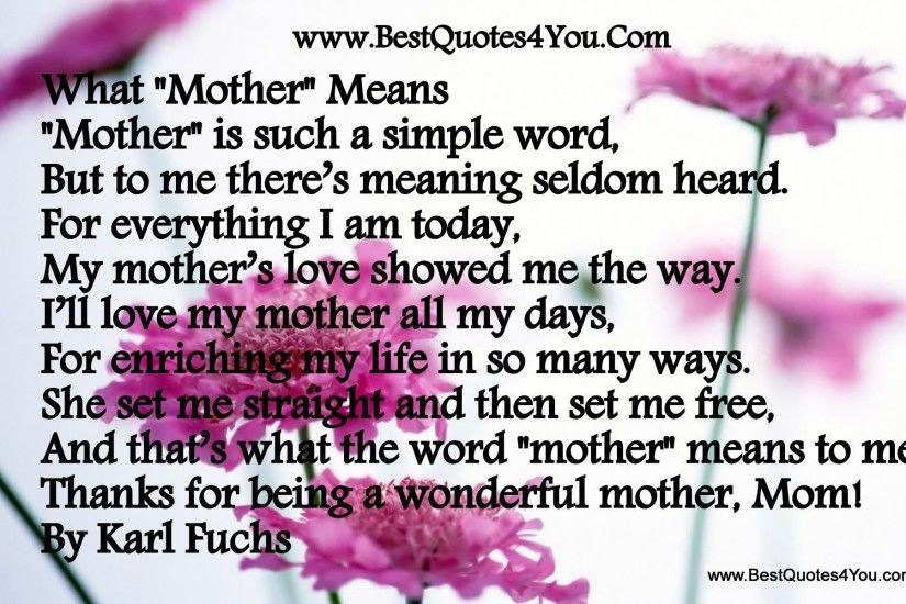 ... Mother Love Poems With Lovely Mom Wallpaper - Poetry Likers ...