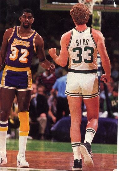 Respectful rivalries... and really short shorts. Larry Bird and Magic  Johnson.