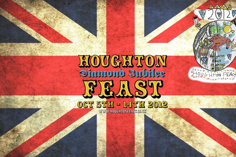 Downloadable desktop wallpaper featuring the Houghton Diamond Jubilee Feast  logo with a Union flag background