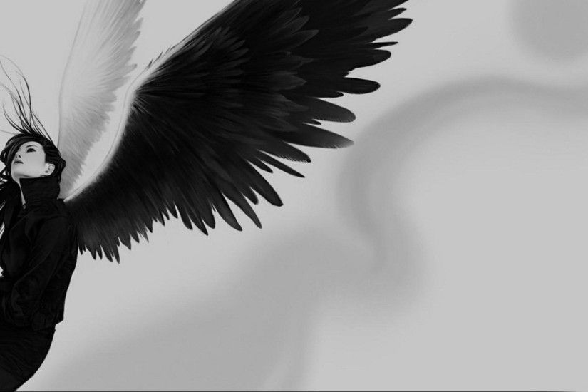 Preview wallpaper angel, wings, white, black, girl 2560x1080