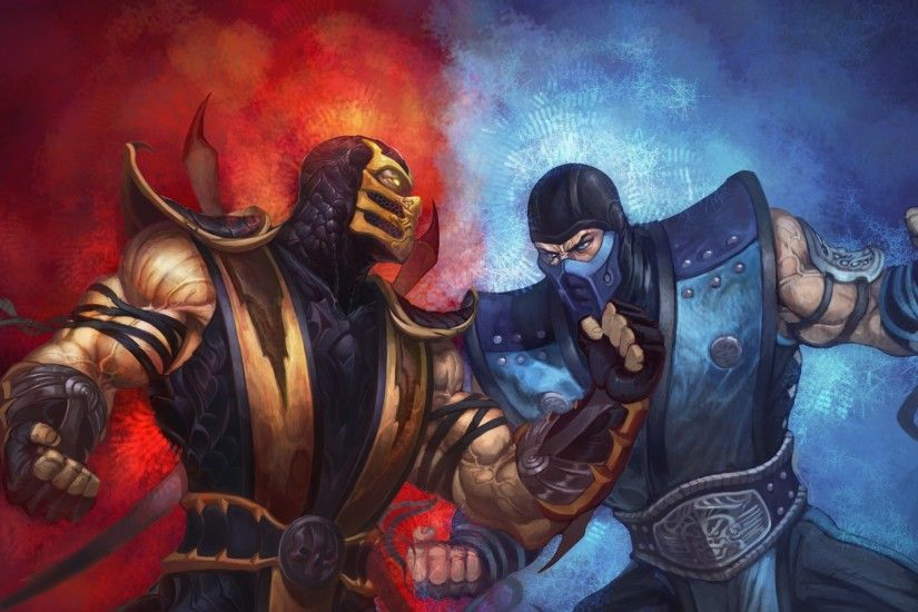 Preview wallpaper mortal kombat, scorpion, sub-zero, punch, ice, fire