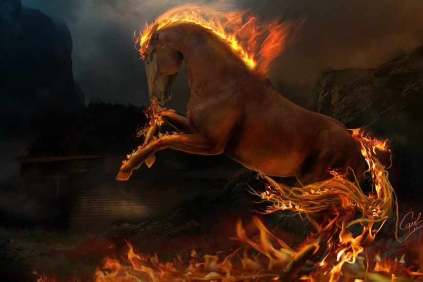 Fantasy Cool Fire Horse HD Wallpapers