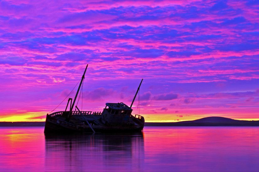Shipwreck purple sunset