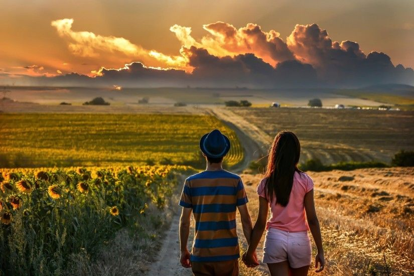 couple, Holding Hands, Road, Field, Back, Clouds, Sunflowers Wallpapers HD  / Desktop and Mobile Backgrounds