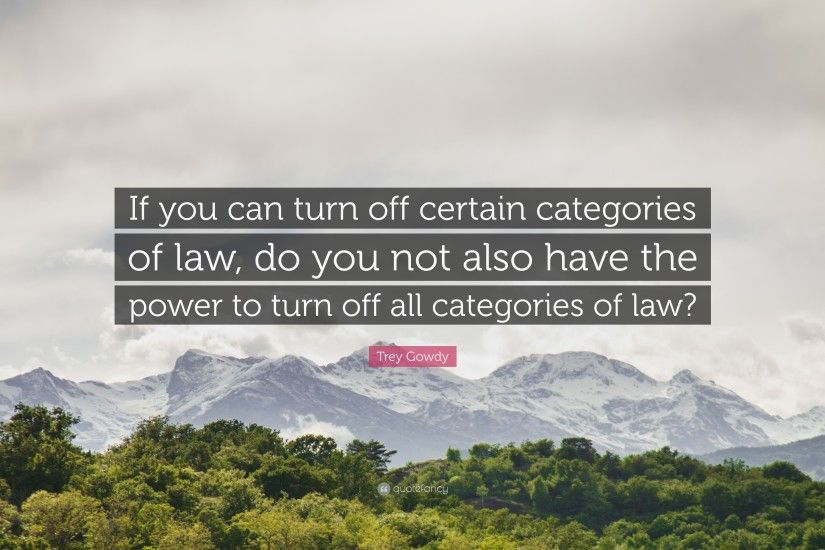 "Trey Gowdy Quote: ""If you can turn off certain categories of law, do"