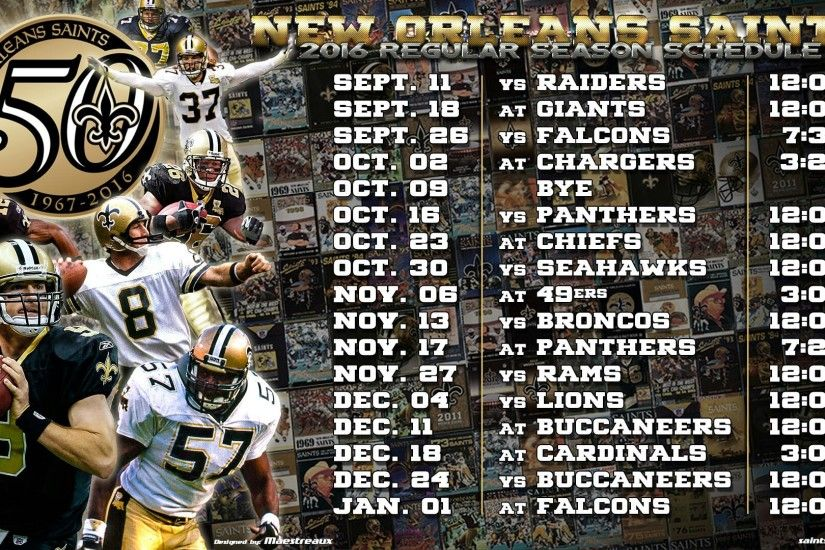 2016 new orleans saints schedule wallpaper