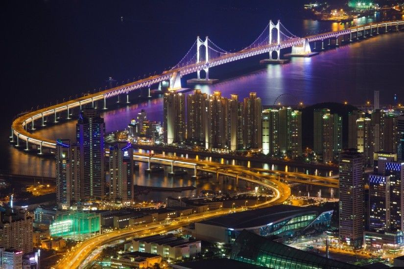 south korea town busan house buildings bridge kvanan strait lighting lights  light night panorama views