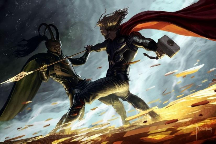 Preview wallpaper thor, fan art, battle, hammer, cloak 1920x1080