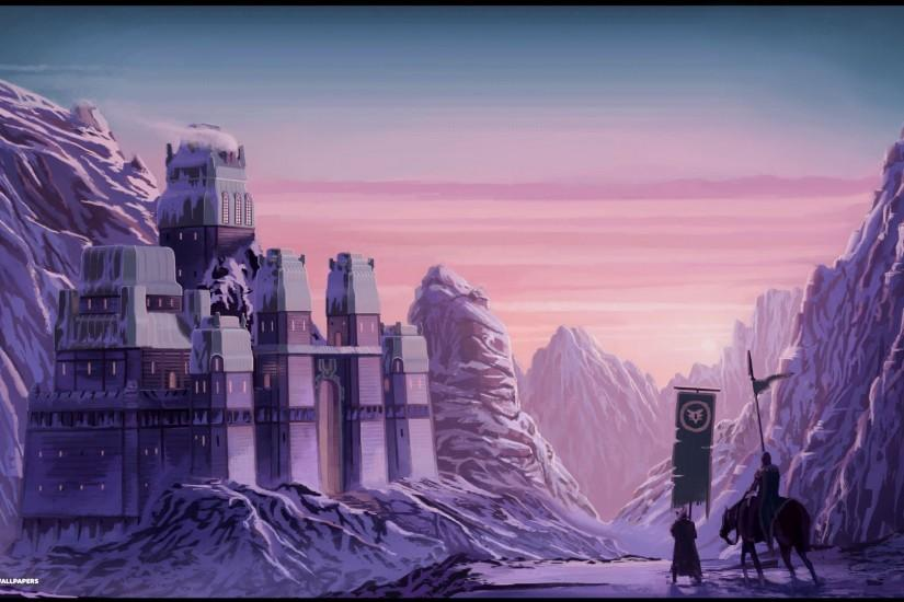 purple background fantasy castle
