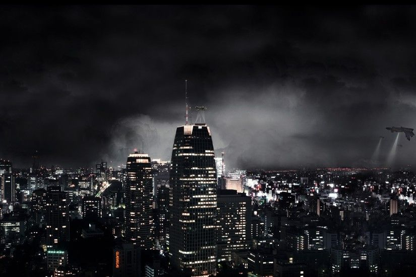 Preview wallpaper dark city, night, fantasy, skyscrapers 3840x2160