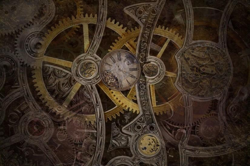 steampunk mechanical gears cloock watch wallpaper background