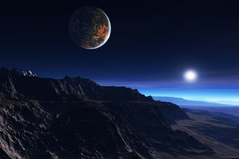 Preview wallpaper exoplanet atmosphere, clouds, stars, moon, mist,  mountains, rocks