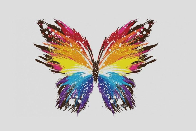 digital Art, Simple Background, Minimalism, Butterfly, Simple, Paint  Splatter, Wings, Colorful, White Background Wallpapers HD / Desktop and  Mobile ...