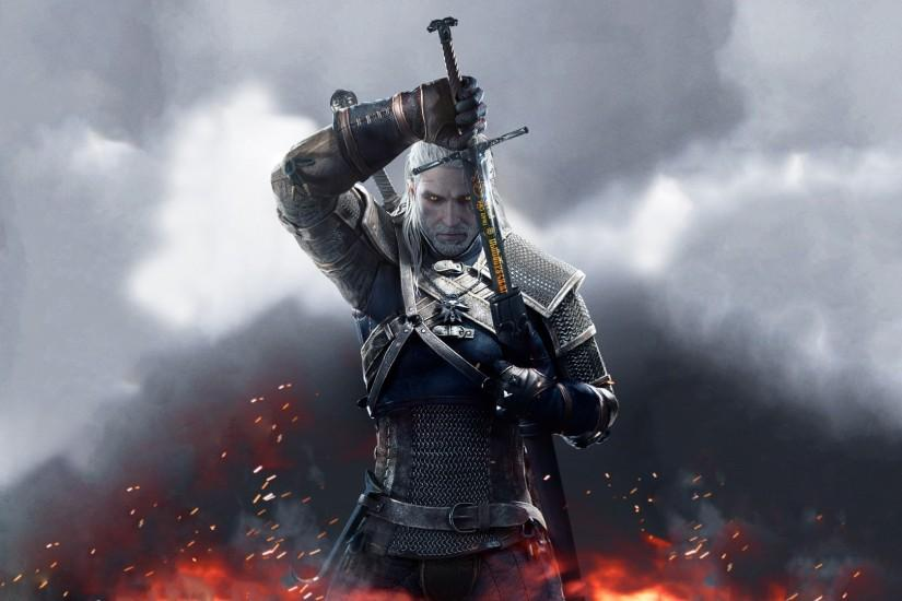 Wallpaper the witcher 3: wild hunt sword runes geralt spark 1920x1080