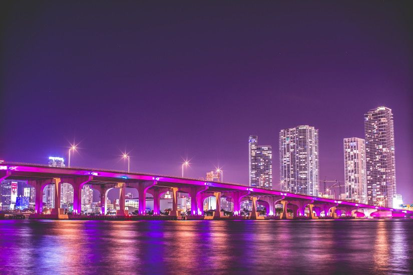 florida, miami, night, vice city, bridge, skyscrapers