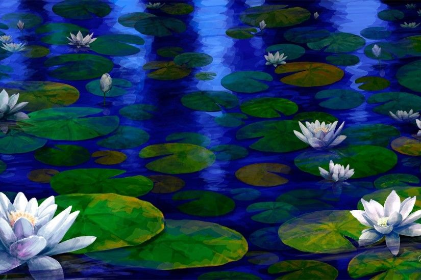 Lilypads Tag - Evening Pond Blue Lake Water Lily Lilies Moonlight Night  Lilypads Flower Wallpapers For