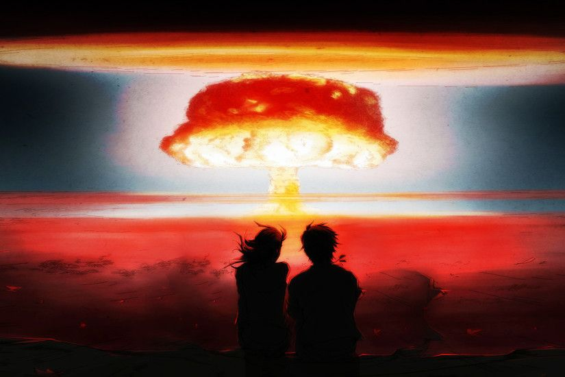-Blast Bomb Explosion Anime Drawing Mushroom Cloud Nuclear wallpaper .