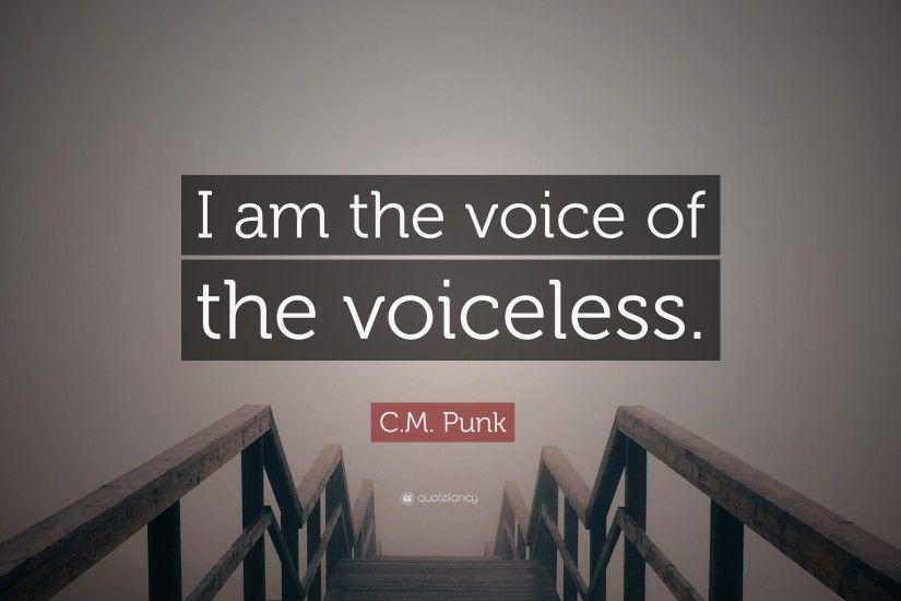 "C.M. Punk Quote: ""I am the voice of the voiceless."""