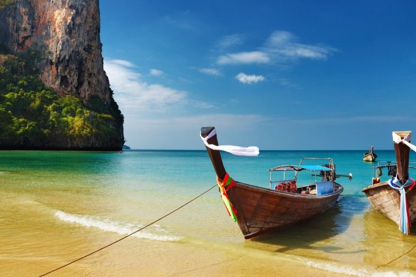 Preview wallpaper thailand, tropical, beach, boats 1920x1080