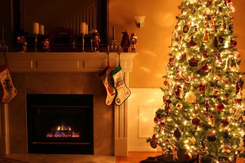 Christmas Wallpaper Christmas Living Room Fireplace Christmas Tree .
