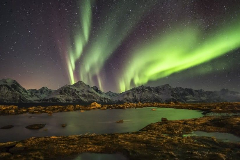 Preview wallpaper norway, night, northern lights, lake 1920x1080