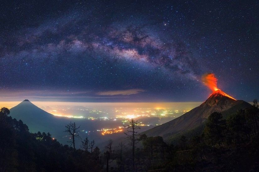 volcano, Milky Way, Guatemala, Nature, Space, Horizon, Landscape Wallpapers  HD / Desktop and Mobile Backgrounds