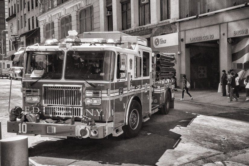 firetruck in front of building