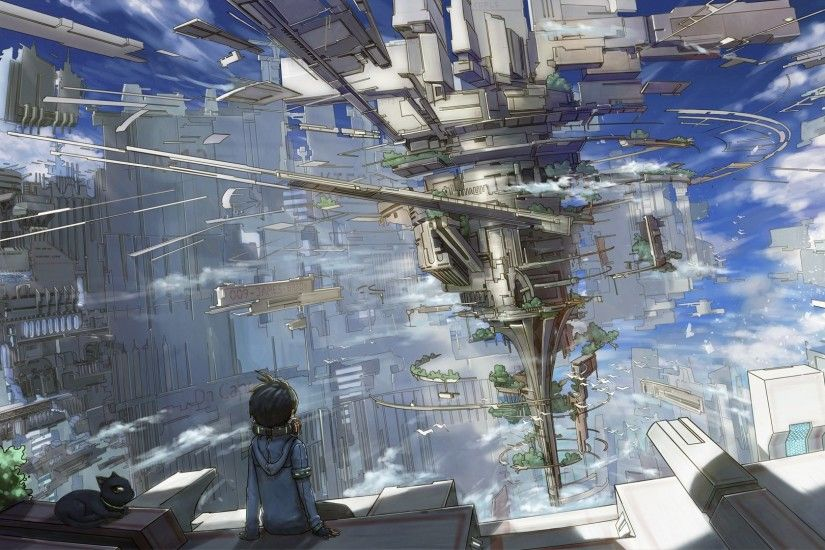 1920x1080 - anime boy, fantasy world, sitting, floating island, sci-fi