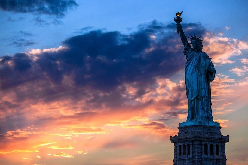 Statue Of Liberty Sunset Wallpaper