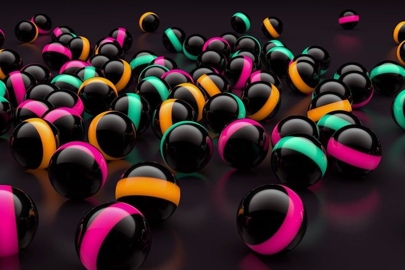 3d black balls lights wallpaper