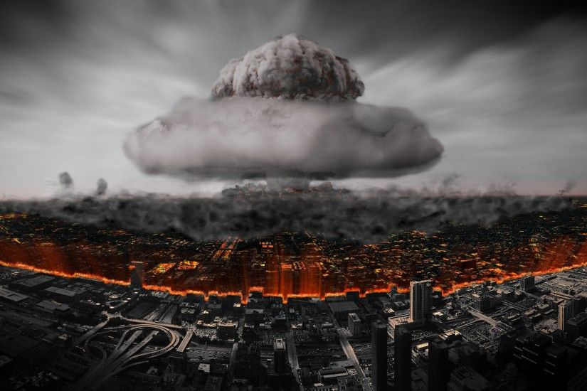 Nuclear Atomic Bomb Explosions Armageddon Buildings Wide Wallpaper .