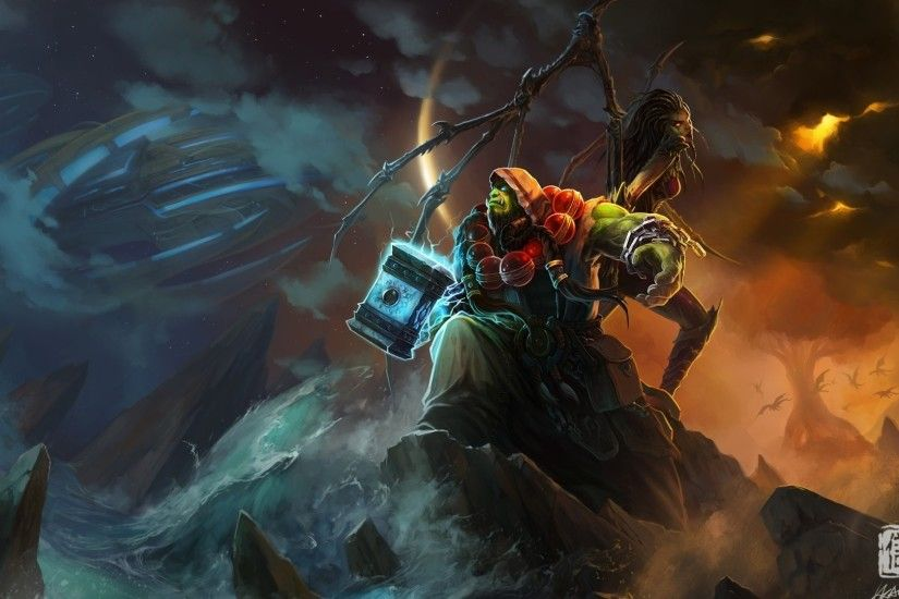 World of Warcraft Ocean Shaman Wallpaper - 1920 x Really nice World of Warcraft  wallpaper featuring a couple of characters readying themselves for battle.