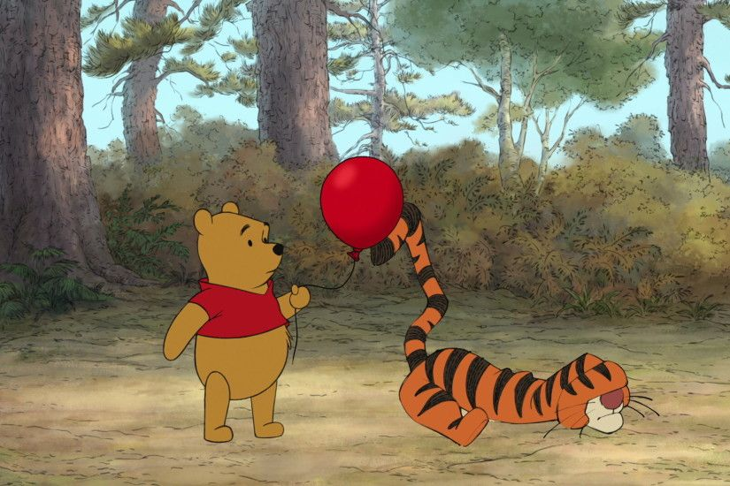 Winnie the Pooh tells Tigger the red balloon wants to stick with him.jpg